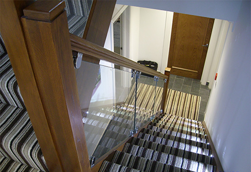 Oak Staircase with Glass Balustrading