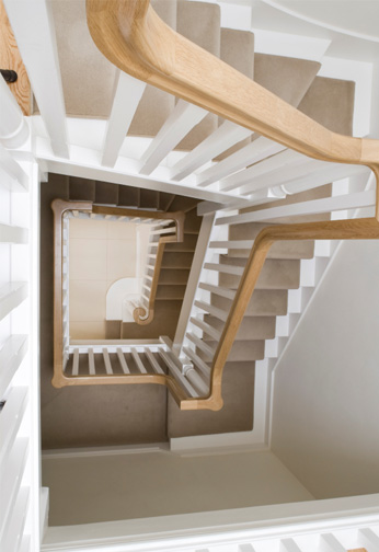 Softwood Staircase with Oak Continuous Handrail