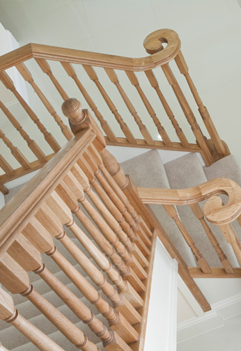 Softwood Staircase with Oak Turned Balustrading