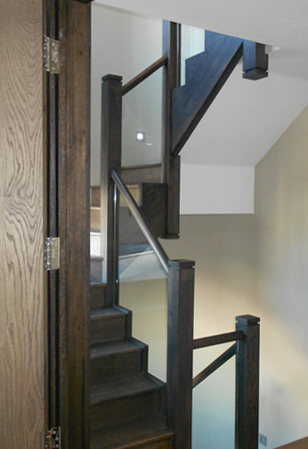 Stained Oak with Glass Balustrading