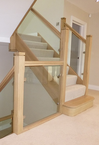 Oak Stairs with Glass Detail