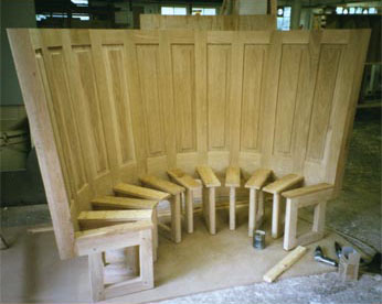 Curved Oak Seat for Wine Cellar in Icehouse