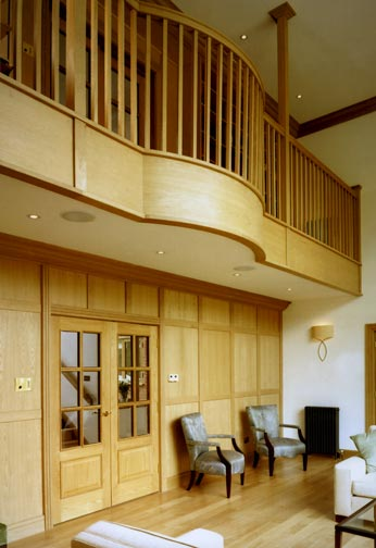 Oak Panelling and Curved Balustrading