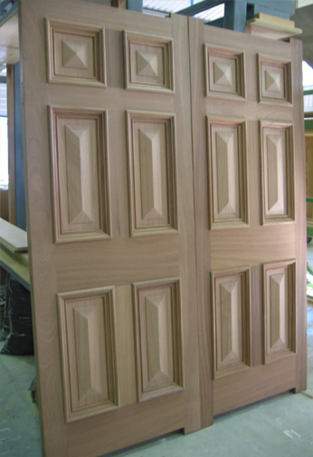 Sapele Doors with Special Raised Panels & Bolection Moulds