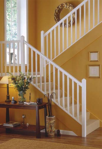 Softwood Stop Chamfered and Painted Balustrading